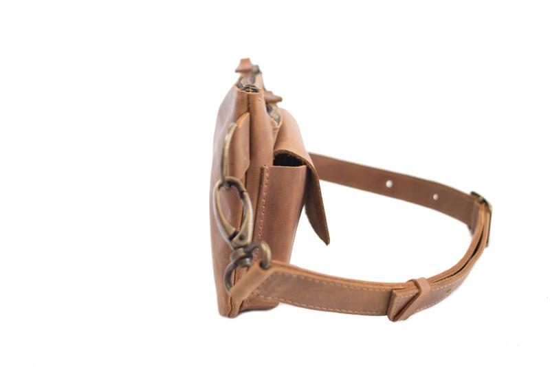 Поясная сумка из натуральной кожи. 07015 коньяк ручной работы купить в  Украине. № 0f36900ff30
