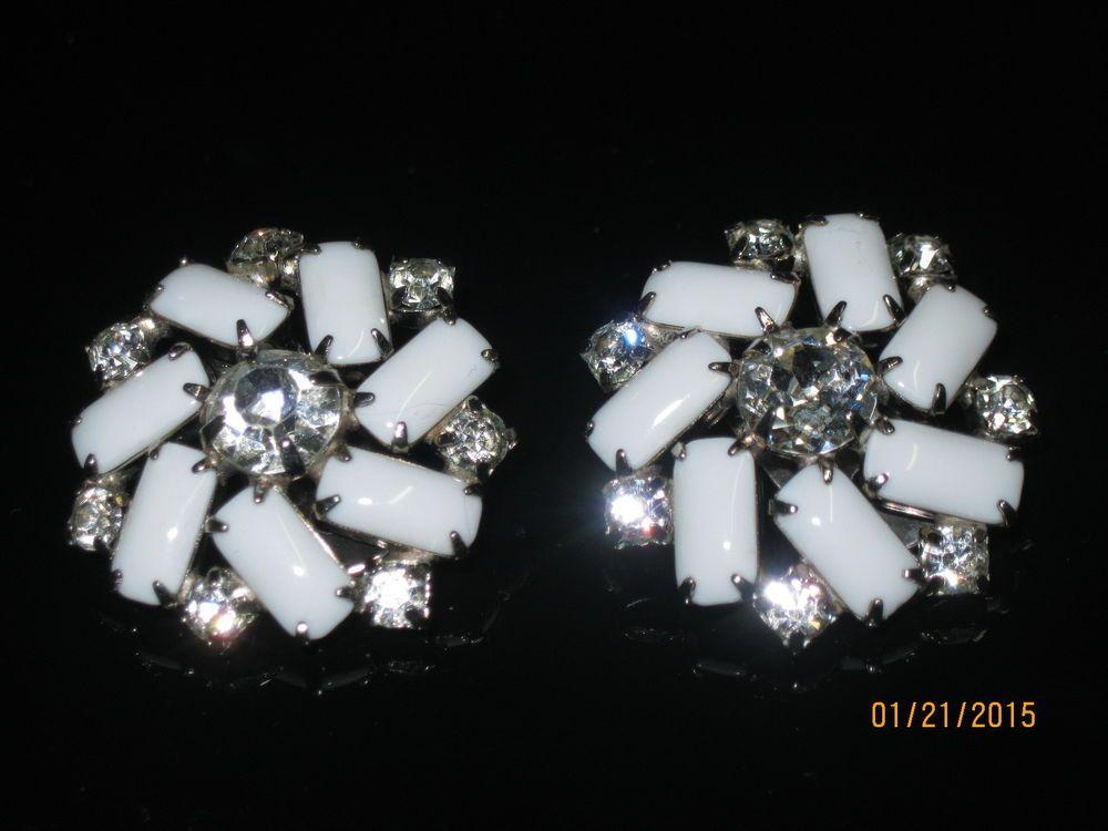 Vintage Clip On Earrings Milk Glass Rhinestones Silvertone Or Shoe Clip Jewelry #Unbranded #Cluster