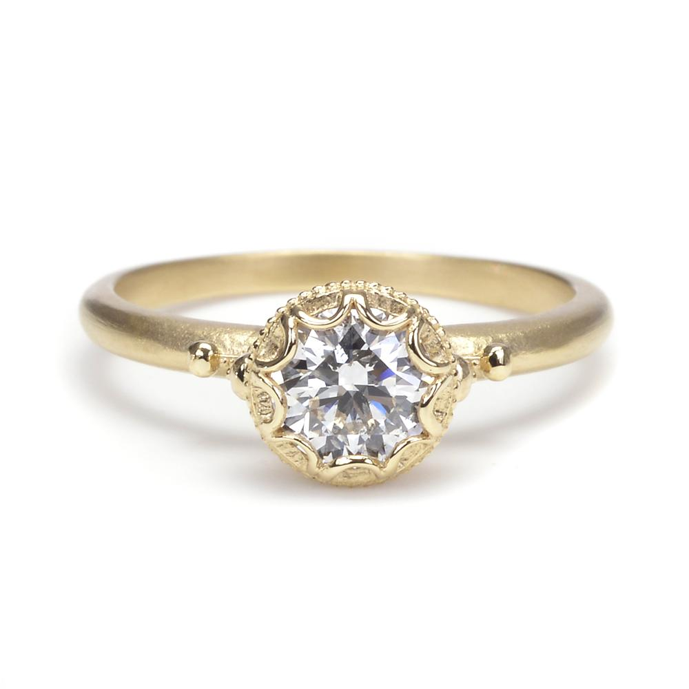 Megan Thorne Diamond Engagement Ring With Scalloped Bezel  Greenwich  Jewelers