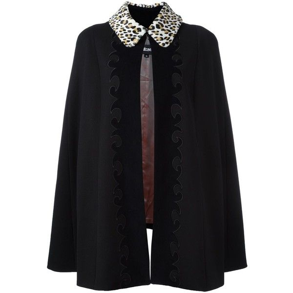 Just Cavalli animalier collar cape (18.995 ARS) ❤ liked on Polyvore featuring outerwear, black, cape coat and just cavalli