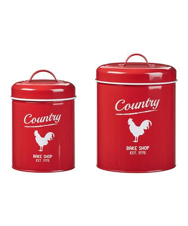 Red Country Rooster Canister   Set Of Two