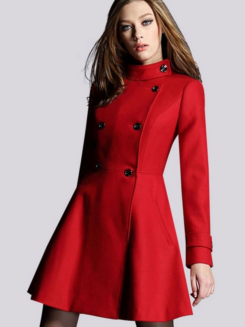 Red Double Breasted Woolen Longline Coat - Gorgeous coat for ...