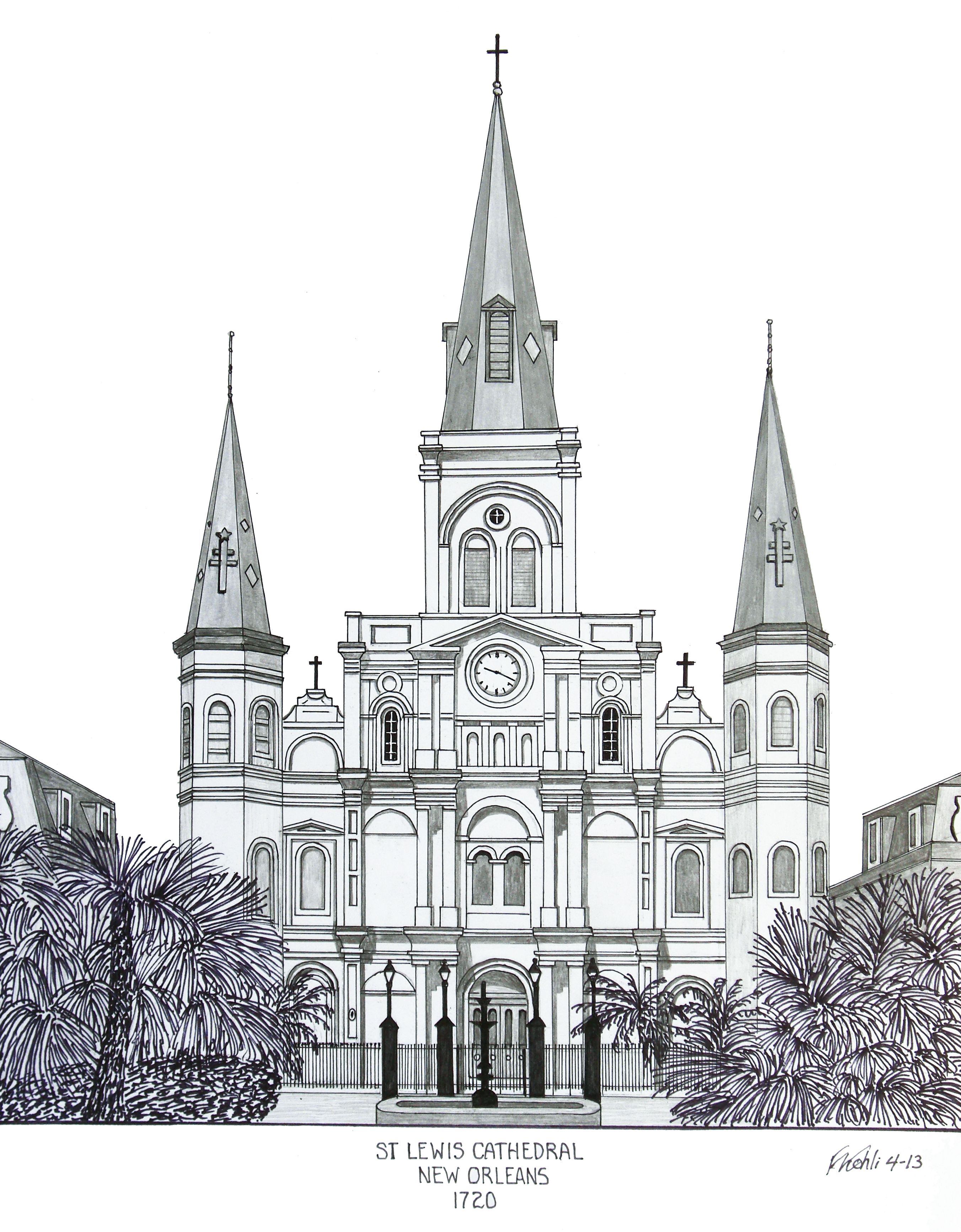 st louis cathedral in new orleans pen and pencil drawing by