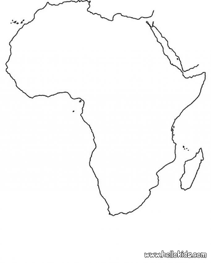 Africa Map Coloring Page Africa Map Coloring Pages African Crafts