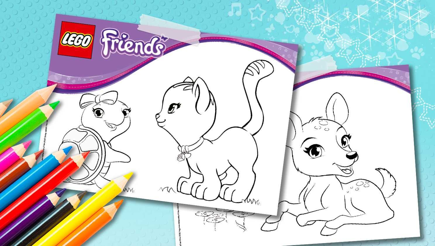 Download Cute Animal Coloring Sheets Downloads Activities Lego Friends Lego Com Lego Friends Party Lego Friends Lego Friends Birthday