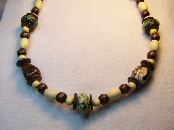 Beaded Stone Necklace by AdormentsPlus on Etsy, $12.00