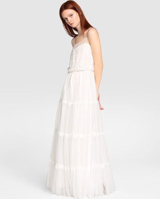 eaa1b78ff Vestido de mujer Naf Naf de tul bordado
