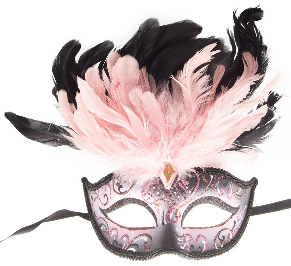 Purple Eye Feather Mask Fancy Dress Night Party Black N