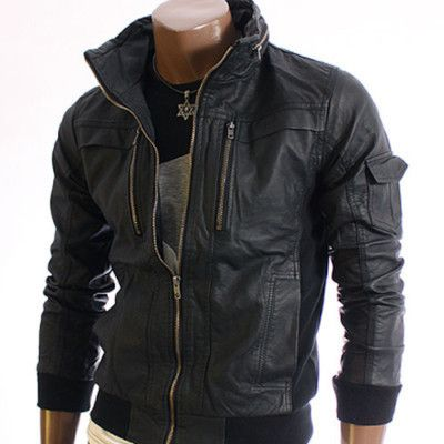 8cbdd8329 youstars Mens WiredCollar Leather Jacket BLACK (1213) | Yes! | Mens ...