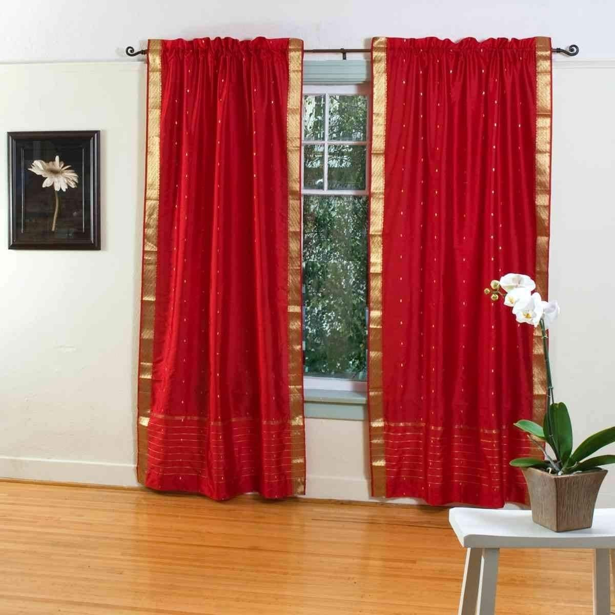 Handmade Fire Brick Rod Pocket Sheer Sari Curtain Set Of 2 India
