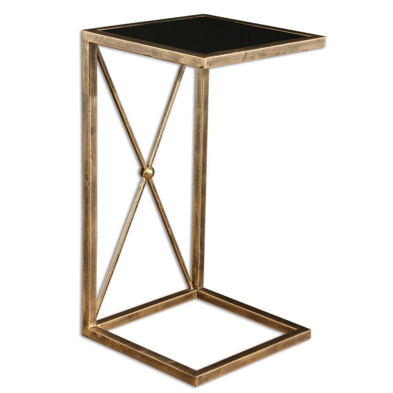 Zafina Gold Side Table With Black Tempered Glass Top Uttermost End Tables  Accent Tables Li