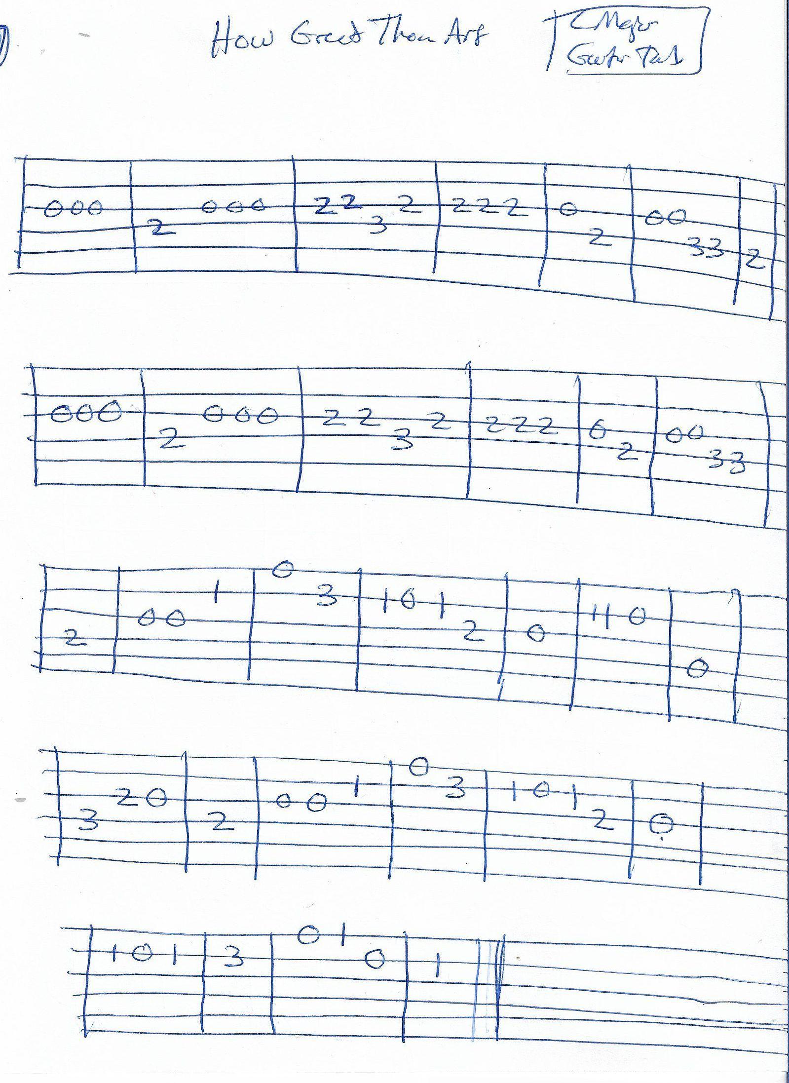 How Great Thou Art Hymn Guitar Melody Tab In C Major Guitar