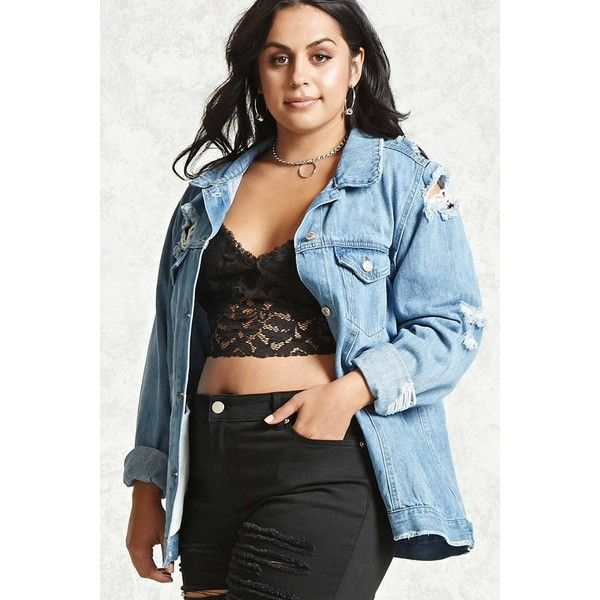 4cab3959fb9 Forever21 Plus Size Denim Jacket ( 38) ❤ liked on Polyvore featuring plus  size women s