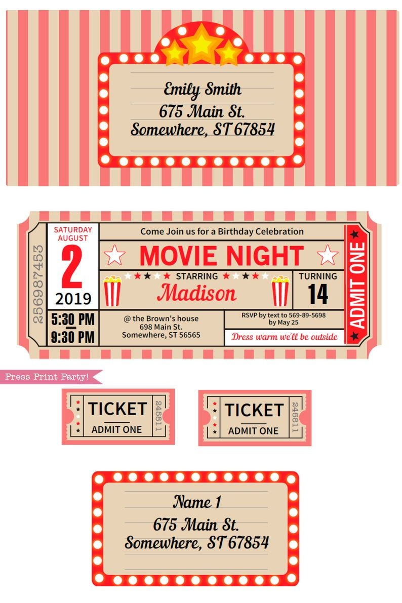 Movie Party Decorations Printables Red Vintage Movie Night Etsy Movie Night Invitations Movie Night Party Movie Ticket Invitations