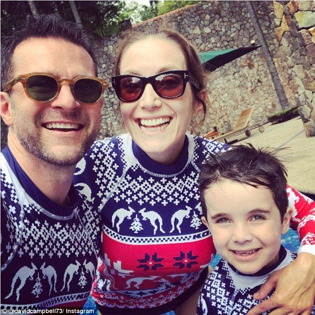 Funny family: David posted a photo to Instagram on Tuesday showing off the family's matchi...