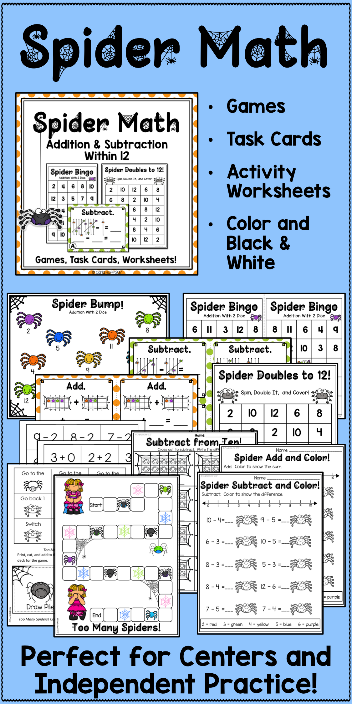 Halloween Spider Math Addition And Subtraction Within 12