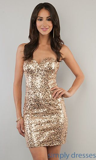 7cd7f5ef3ad Short Sweetheart Sequin Cocktail Dress at SimplyDresses.com ...