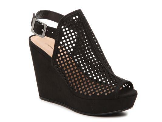 Women S Chinese Laundry Z Iris Wedge Sandal Black Black Wedge Sandals Wedge Sandals Wedge Shoes