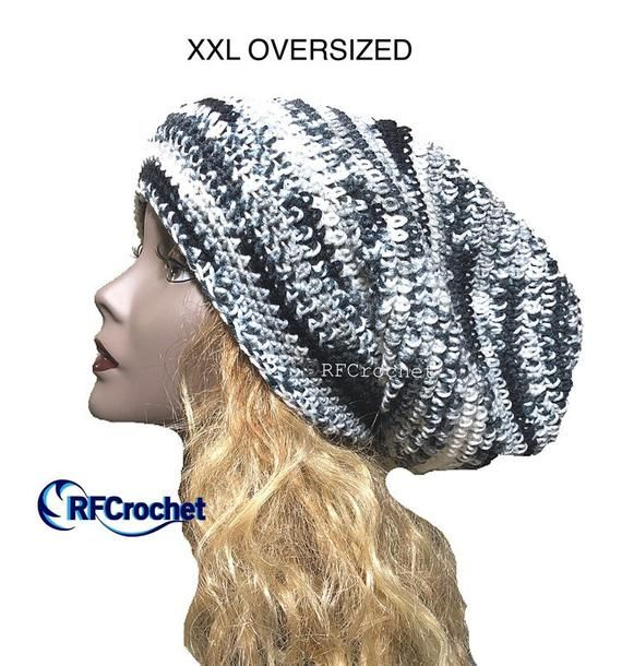 48bcb5515 XXL Gray Mix Oversized Slouchy Beanie - In Stock - Large Hat Size ...