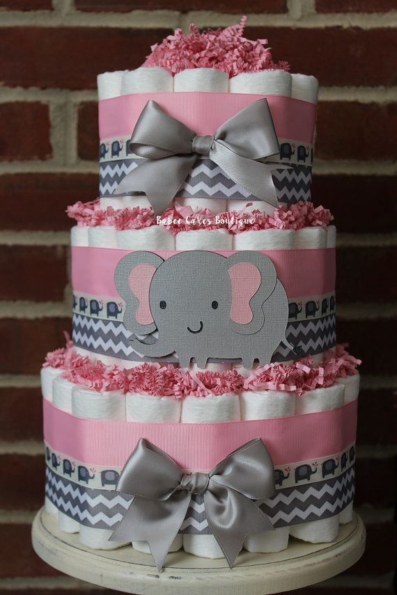 3 Tier Pink And Gray Elephant Diaper Cake Baby Shower