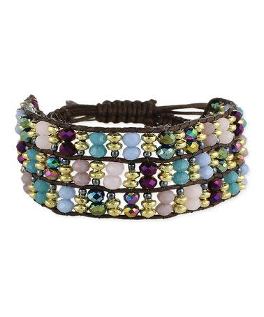This Brown & Blue Bead Bracelet is perfect! #zulilyfinds