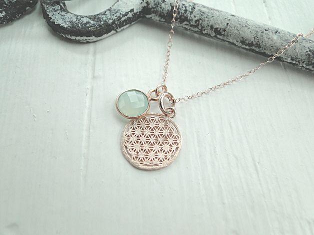 Kette Blume des Lebens Aqua rosévergoldet PUR | Aqua, Jewelery and ...