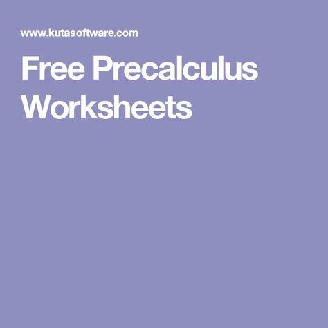 Free Precalculus Worksheets | teacher stuff | Pinterest ...