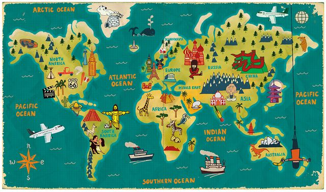 The world map illustrations illustrators and travel planner paul thurlby illustration maps would like to have this one for the school room gumiabroncs Choice Image