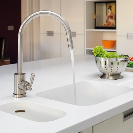 Real homes - modern white kitchen | White sink, Space kitchen and ...