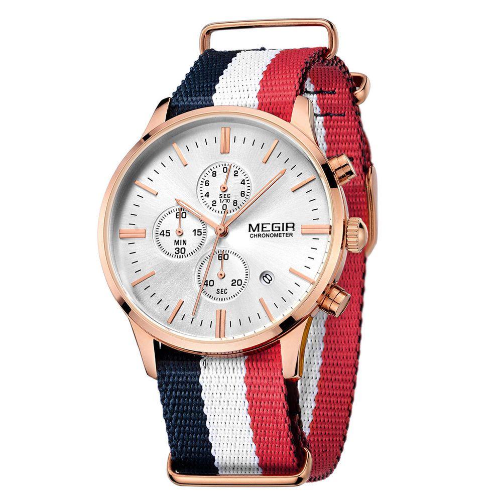 MEGIR Men Military Water Resistant Quartz Watch Canvas  Chronograph Wristwatch  | eBay
