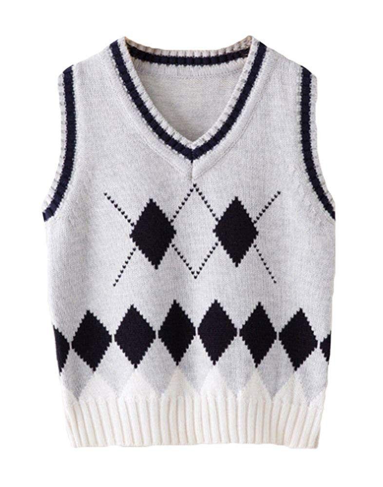 Boys Kinted V Neck Rhombus Pullover Sleeveless School Sweater Vest - Gray -  C5189Y6N70Y | School sweater, Sweaters, Sweater vest
