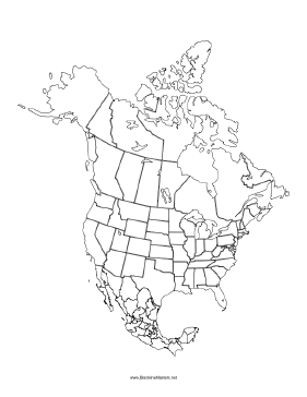 This blackline master features a Map of North America