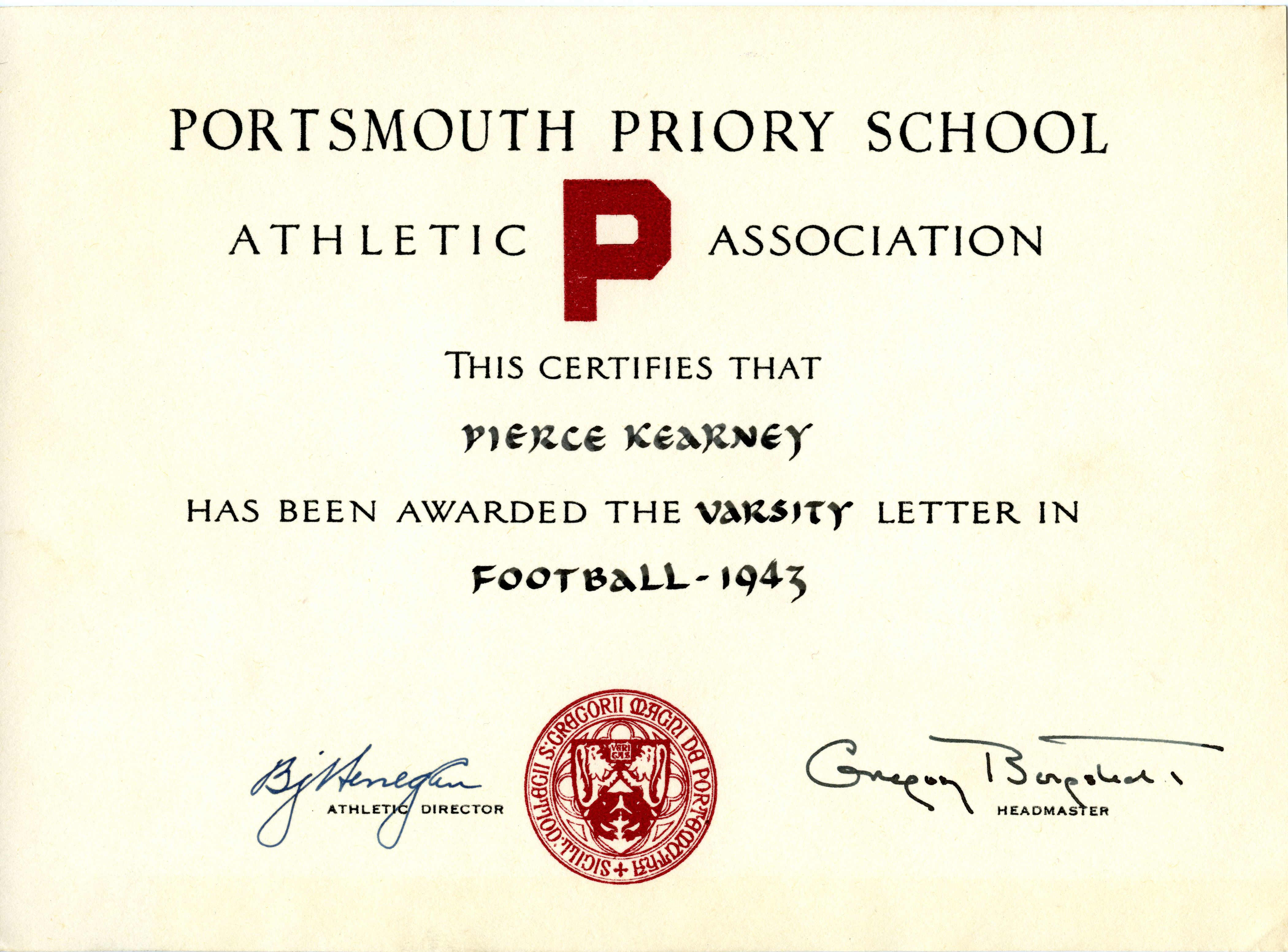 1943 portsmouth priory athletics certificate for football from the