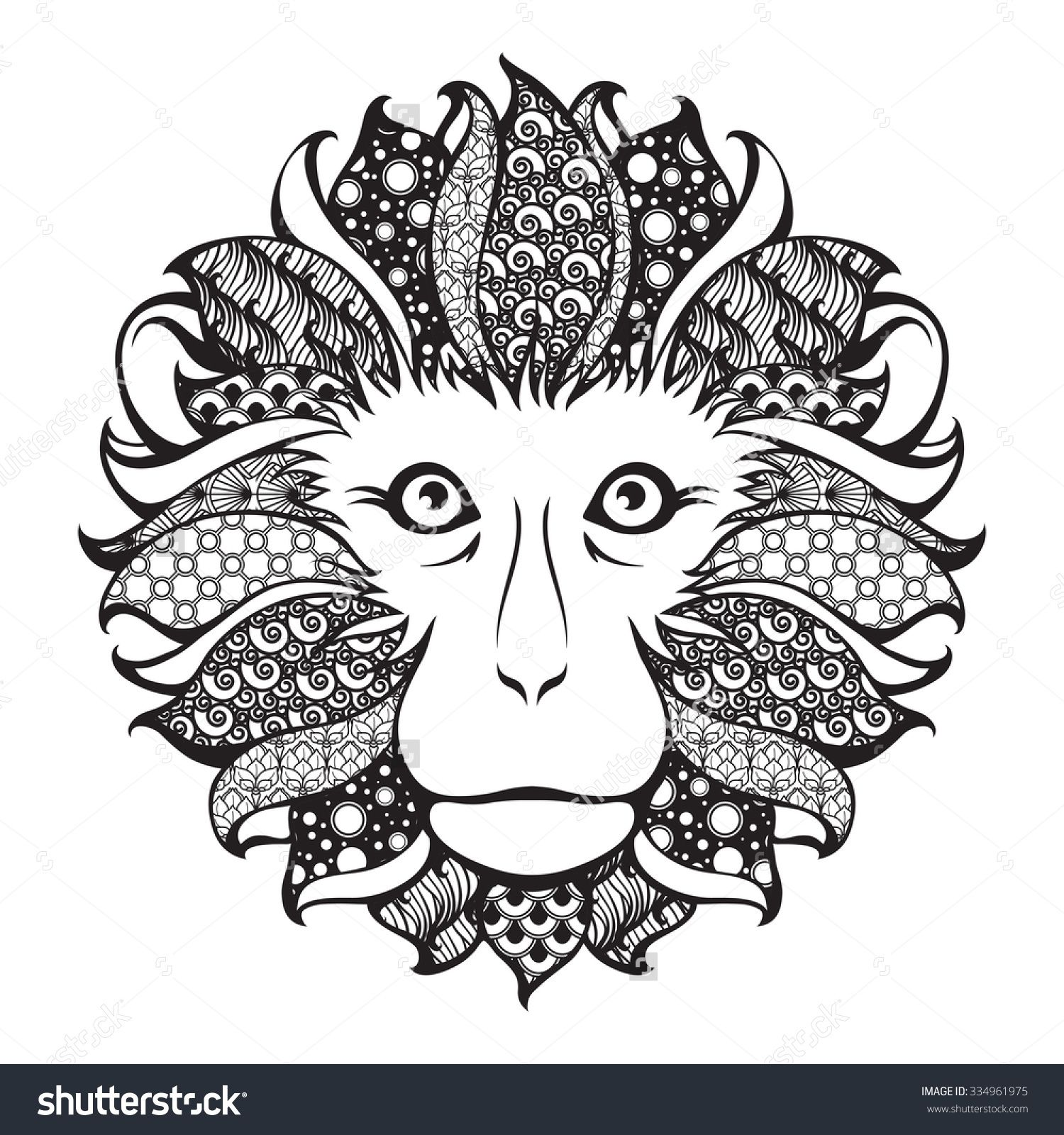Ornamental patterned head of the monkey. Zentangle doodle vector ...