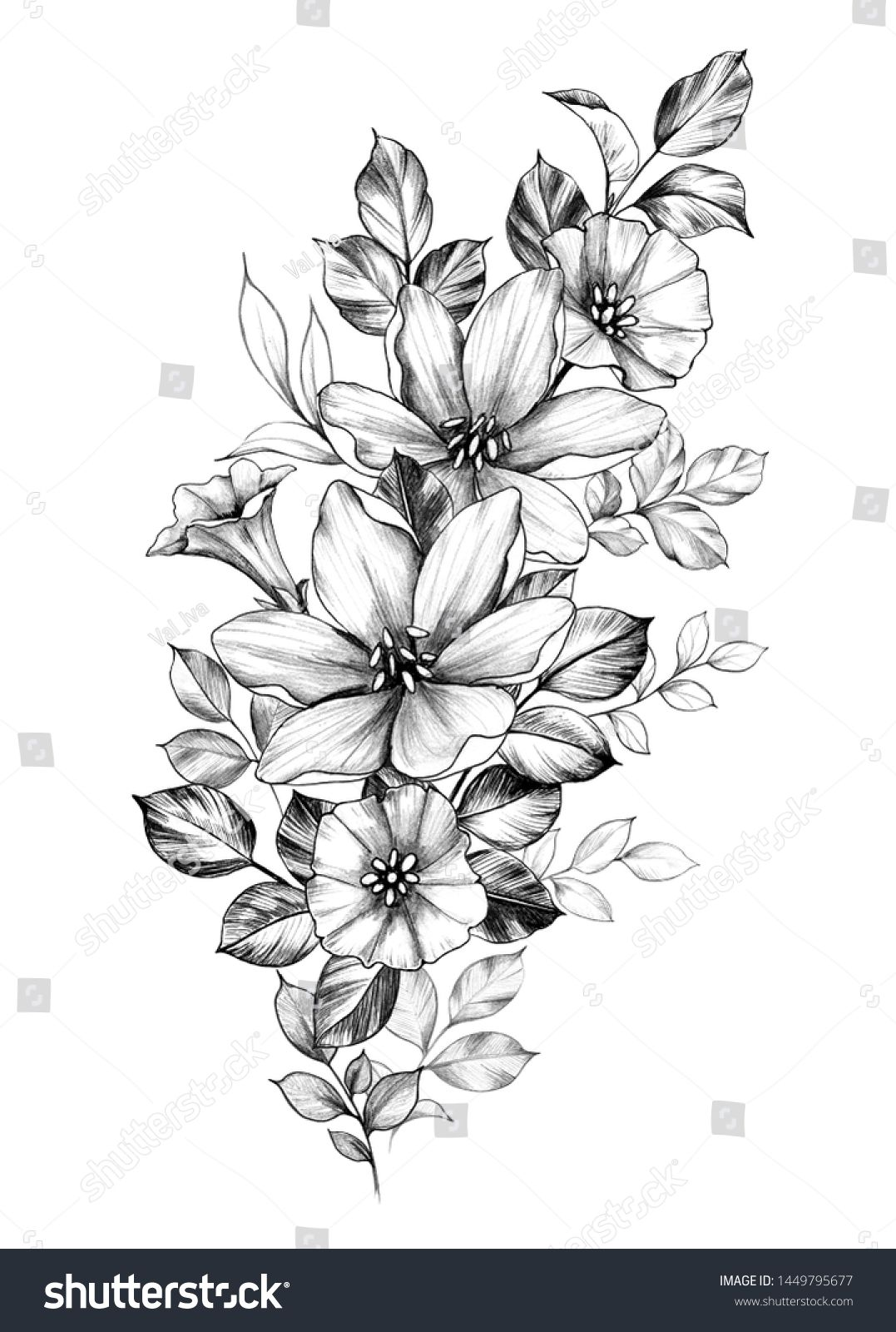 Hand Drawn Bouquet Flowers Isolated On stockillustratie 1449795677