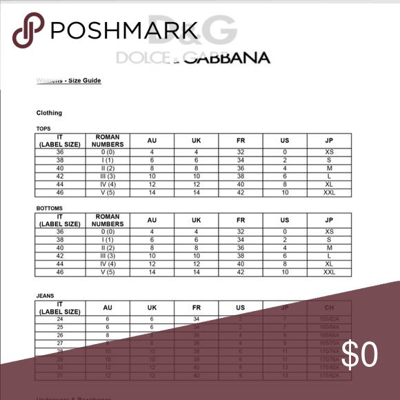 Dolce And Gabbana Sizing Chart European Sizing Chart Other Dolce And Gabbana Gabbana Chart