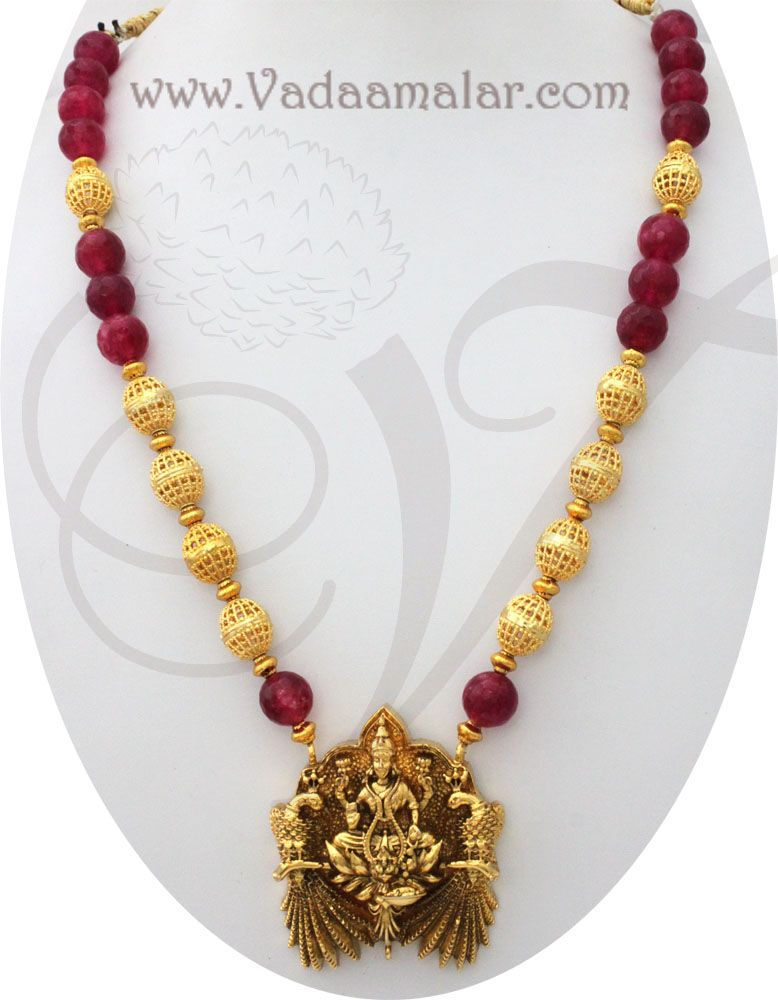Lakshmi Design Pendant with Radish Red and Gold Beads Necklace