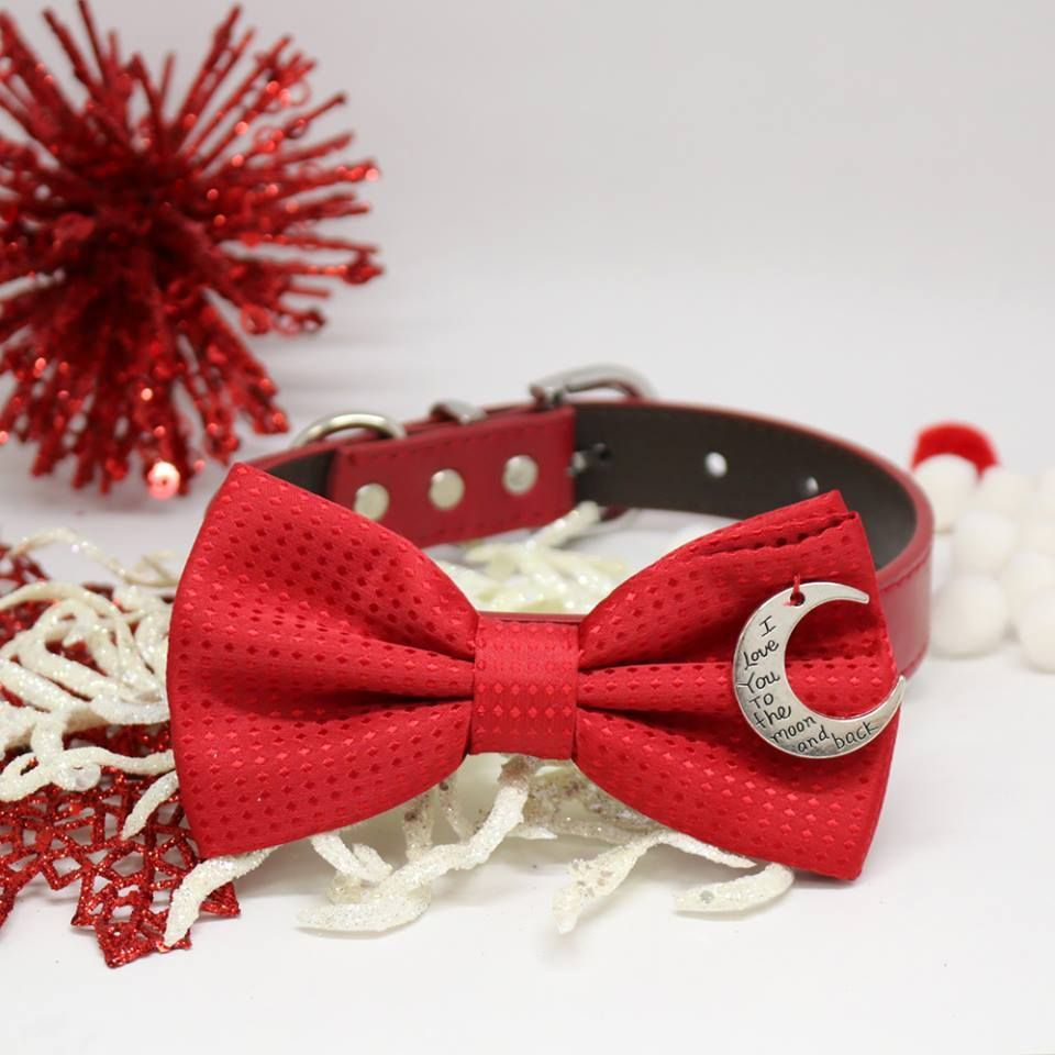 e0a00be100ab Handmade Dog Bow Tie Collar, Red Polka Dots, Pet Christmas accessory, I  love you to the moon and back, Puppy Love