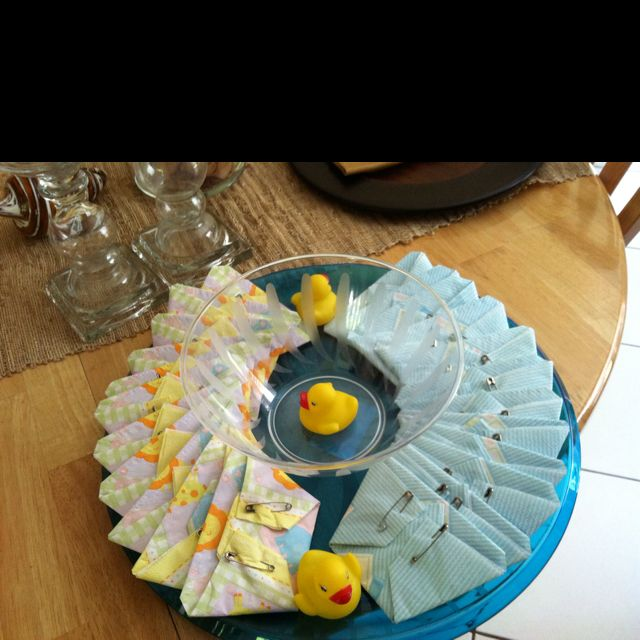Baby shower dip platter... Napkins shaped as diapers...crackers or whatever go inside!!!