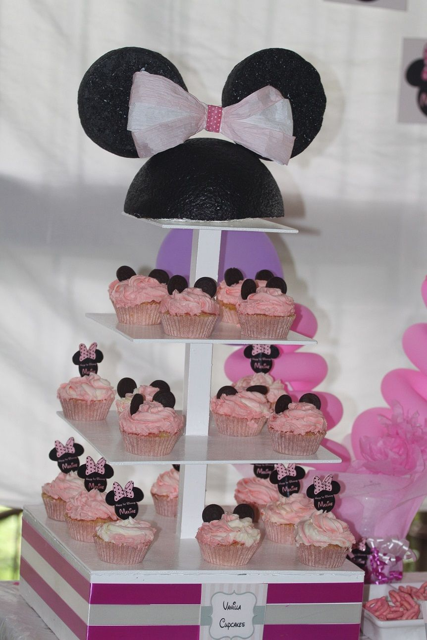 minnies vanilla cupcakes, Minnie mouse theme, pink and white party, wafer sticks, chocolate covered pretzels, balloon, candy bar, sweet table, edible party favo