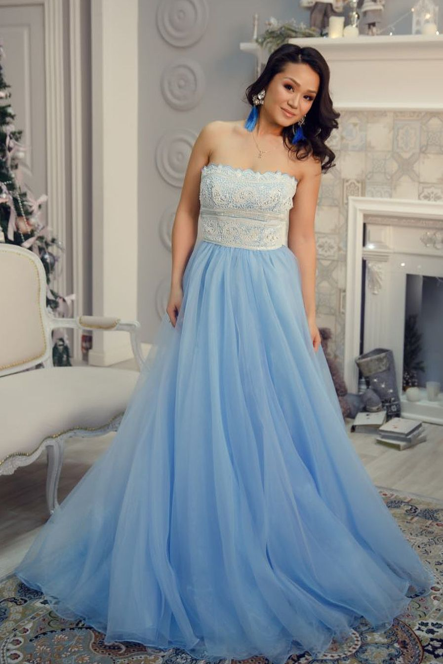 Princess Strapless Blue Long Prom Dress with White Lace | Dress ...
