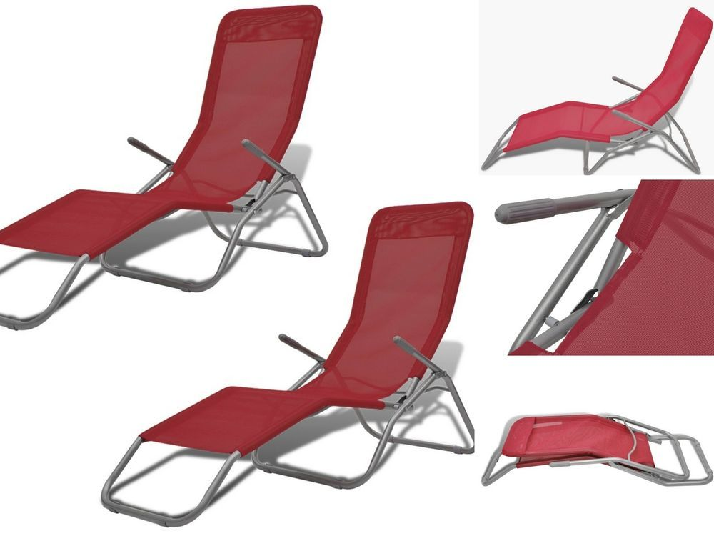 Folding Red Sun Loungers Camping Beach Chair Set Outdoor Garden
