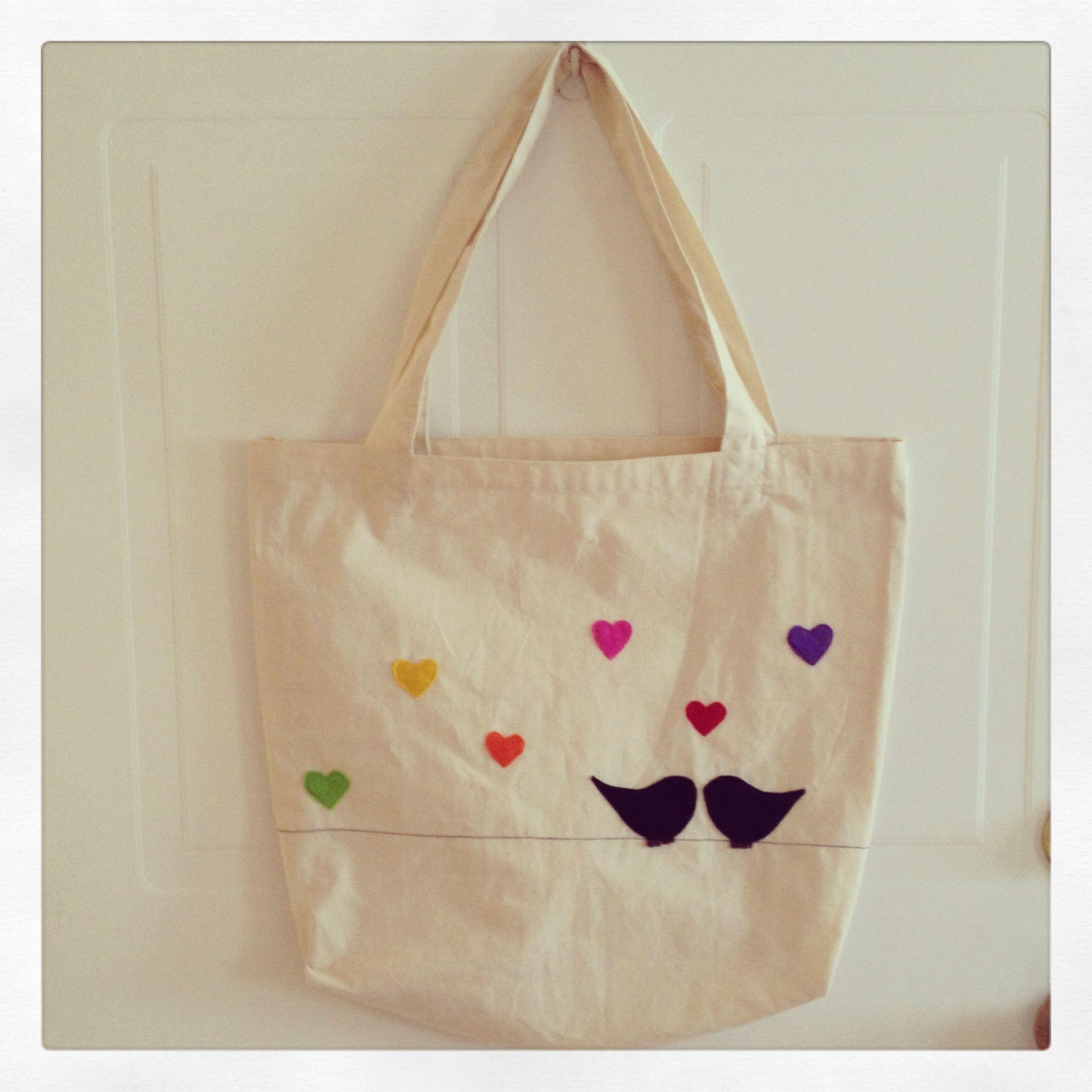 Bolsade género (Tote bag) Diseño pajaritos enamorados.