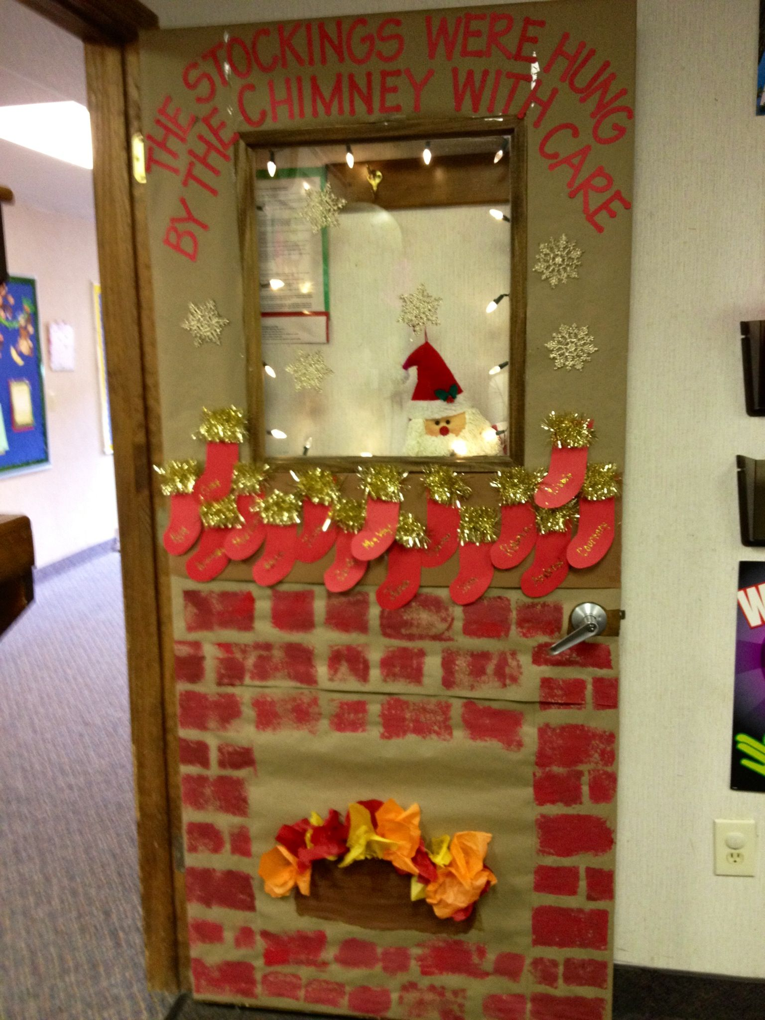 Christmas classroom door decorations fireplace - Classroom Door Christmas 2012 My Students Sponge Painted The Brick Work Used Construction