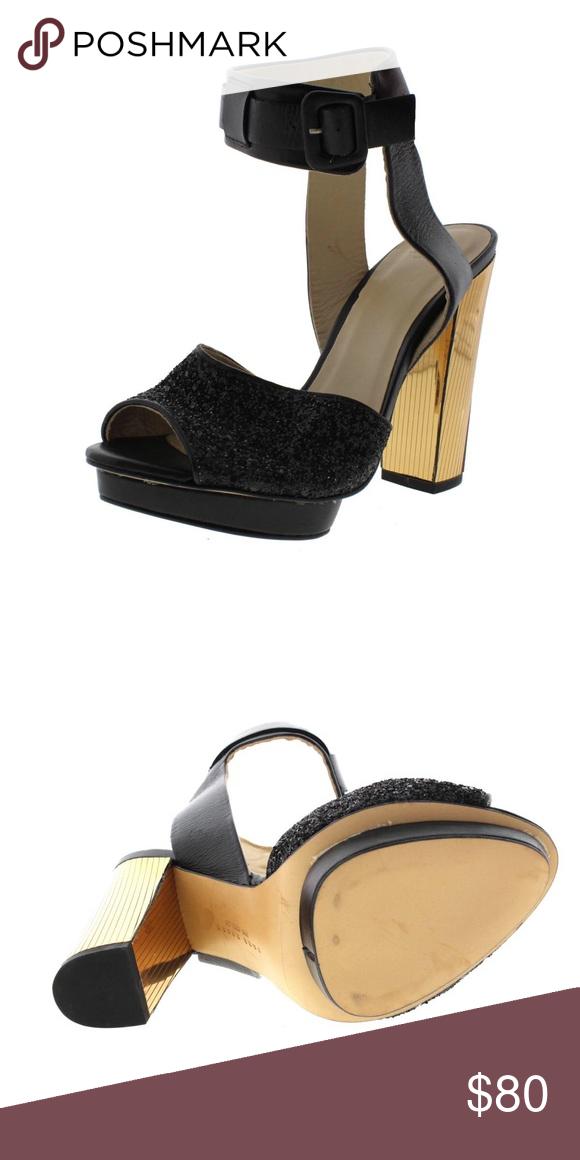 66bf14100b98 Zara Black Leather Platform Sandals Shoes 7.5 Medi Sandals Shoes 7.5 Medium  (B