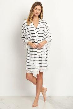 444e1445f54 White Striped Lace Trim Delivery Nursing Maternity Robe