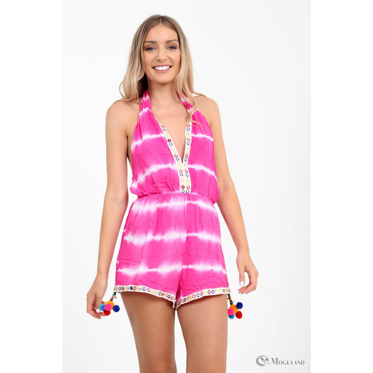 acf1181d4c Ladies pink tie-dye halterneck playsuit wholesale - Women s Wholesale  Clothing Supplier