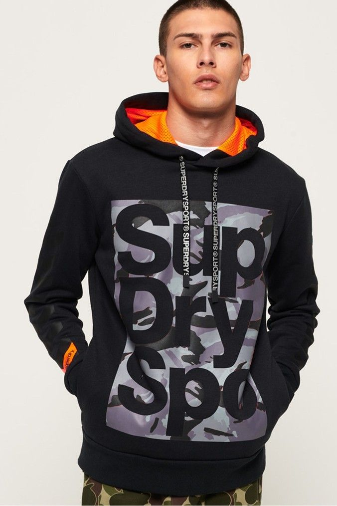 Superdry Sport Men/'s Dark Marl Grey Combat Pullover Hoodie