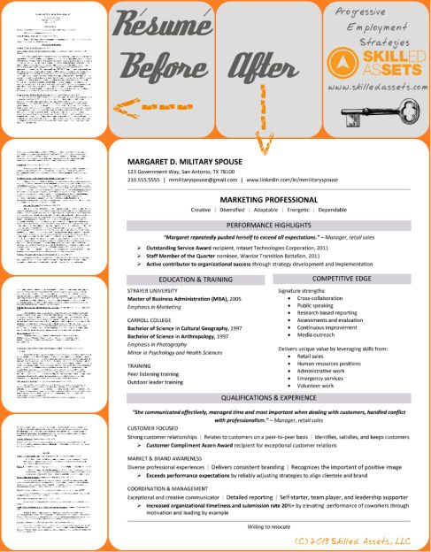 Résumé Before \ After Example - Margaret D Military Spouse www - example of a military resume