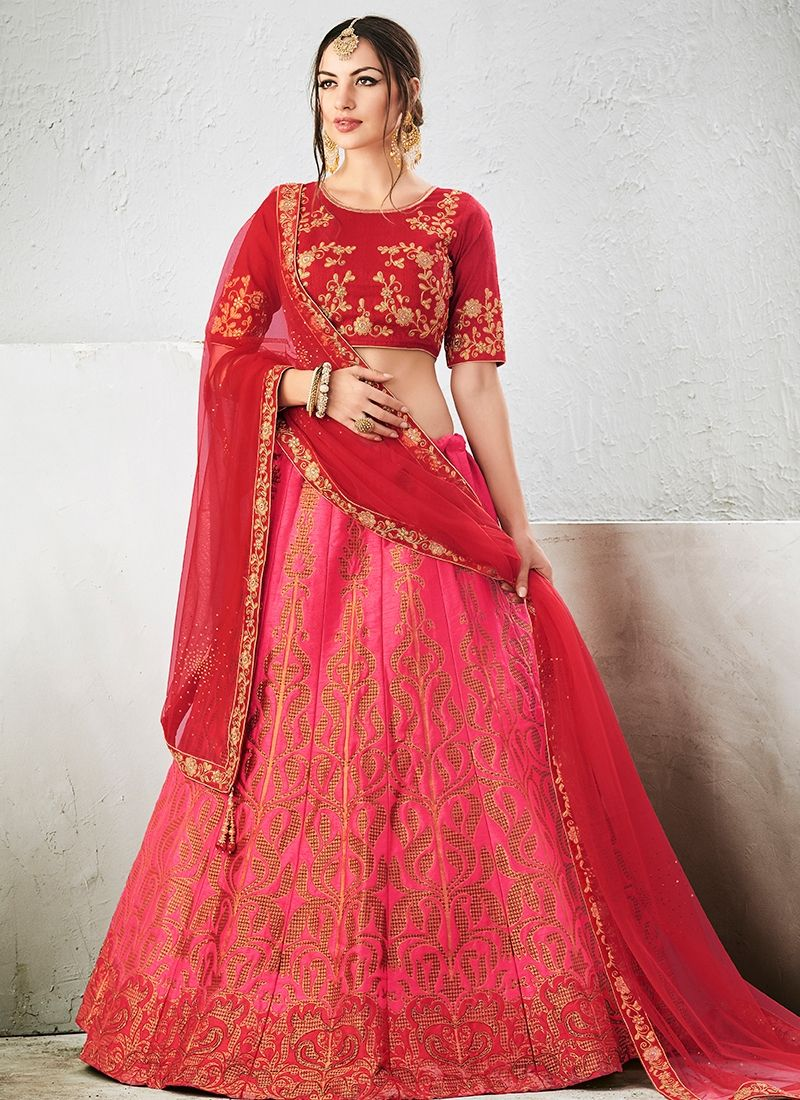 7a1a29bd3a Buy Pink Color Jacquard Silk Lehenga Choli Online | Sarees in 2019 ...